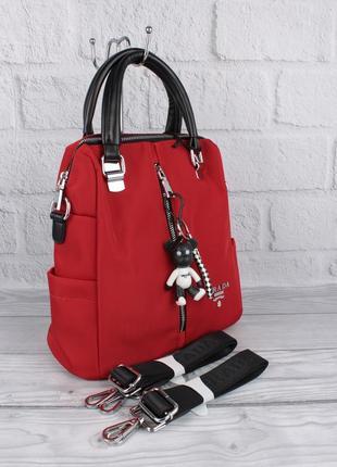 Стильный городской рюкзак сумка 1721 красный 2 в 1
