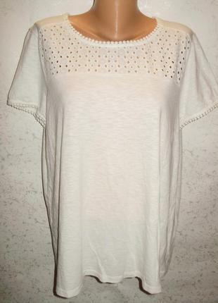 Белая футболка с прошвой 18/52-54 размера