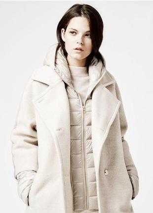 Пуховик куртка с пухом с капюшоном под пальто белая молочная с...