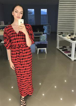 Платье длинное красное zara s