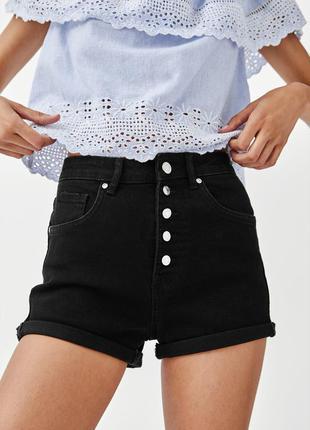 Zara шорты черные короткие 38
