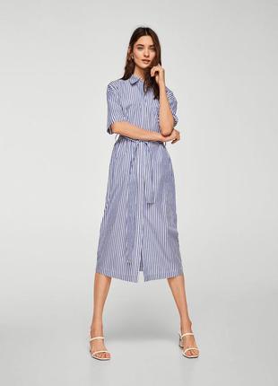 Манго mango платье рубашка миди в полоску l хлопковое