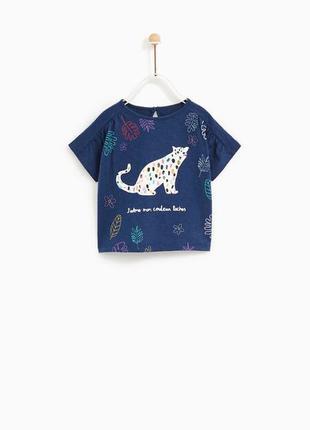 Zara футболка с принтом для малышки 74 см и 86 см