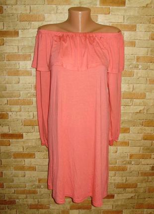 Новое трикотажное платье с воланом и спущенными плечами 14/48-...