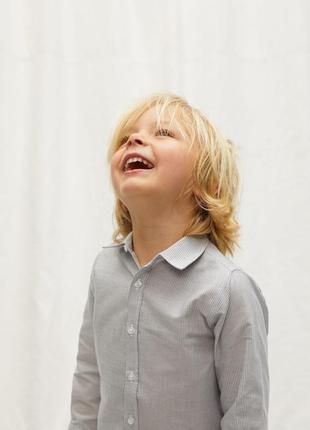 Mango kids рубашка серая в полоску для мальчика