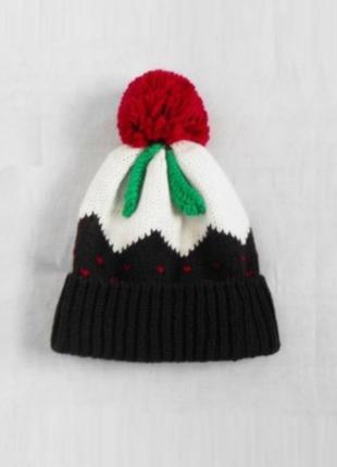 Зимняя теплая вязаная шапка с бубоном с помпоном