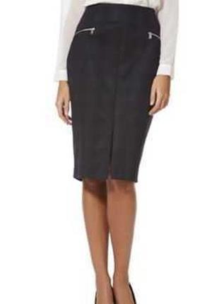 Стильная стрейчевая юбка карандаш в принт с разрезом спереди р...