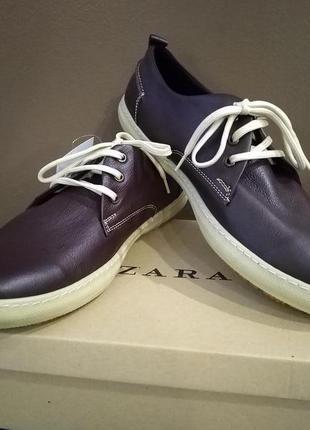 Мужские кожаные полуботинки/кеды  zara. размер 44. цвет темно-...