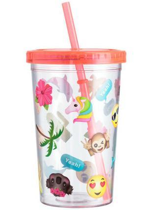 Пластиковый стакан с крышкой и трубочкой smile h&m.