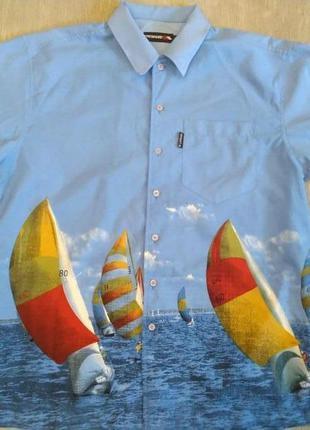 Мужская рубашка trespass размер m/l. голубая принт яхты.