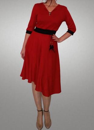 Шикарное платье в стиле ретро, с асимметричной юбкой полусолнце