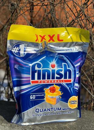 Таблетки для посудомийних машин finish quantum max lemon 60 шт