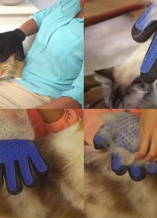 Рукавичка для вичісування шерсті домашніх тварин собак, кішок (ма