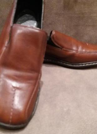 Комфортные коричневые кожаные туфли ..бренд --rieker-38-39