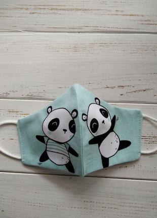 Маска детская с пандами защитная для лица