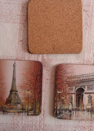 """Подставки для декорации стола """"Виды Парижа"""" 3 шт."""