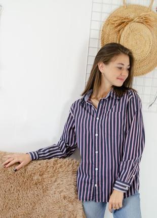 Tommy hilfiger темно-синяя рубашка в полоску, полосатая, сорочка