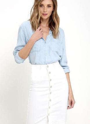 Винтаж,белая,джинсовая, стрейчевая юбка на застежке,biba