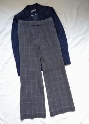 Классическая широкие брюки штаны марлены в клетку