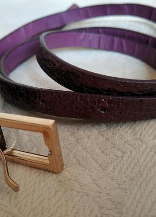 Ремнень пояс тонкий фиолетовый