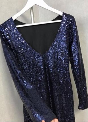 Блестящие Синие платье
