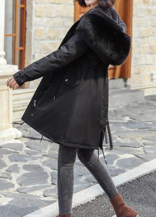 Куртка парка зимняя женская черная