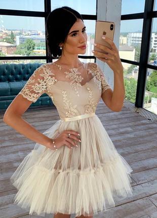 Нарядное вечернее короткое платье с фатиновой пышной юбкой и к...