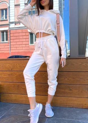Белый спортивный костюм  турецкая двунить