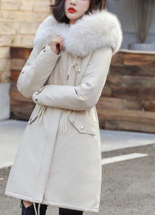 Куртка парка зимняя женская (бежевая)