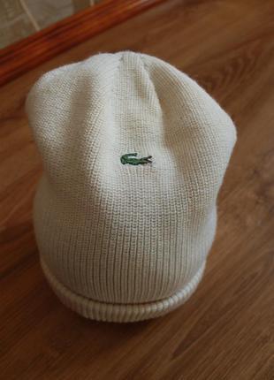 Базовая винтажная шапка унисекс на морозную погоду lacoste