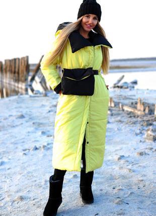 Теплый пуховик  двусторонний теплое пальто куртка с сумкой сил...