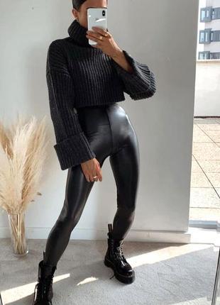 Утепленные черные кожаные лосины с высокой посадкой  эко-кожа ...