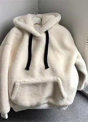 Меховое мягкое теплое худи искусственный мех (кролик) манжет -...