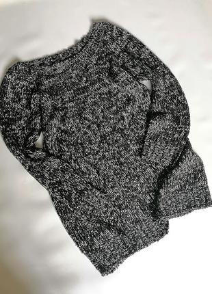 Меланжевый удлиненный серый свитер-туника с люрексом батал бол...