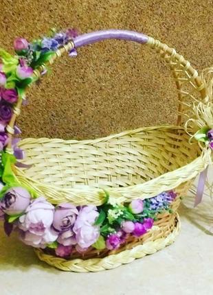Корзина пасхальная с натуральной лозы, декорированная, авторская