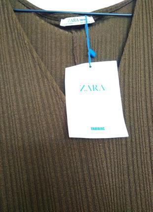 Интересная блуза  топ футболка рубчик летучка цвет хаки зелены...