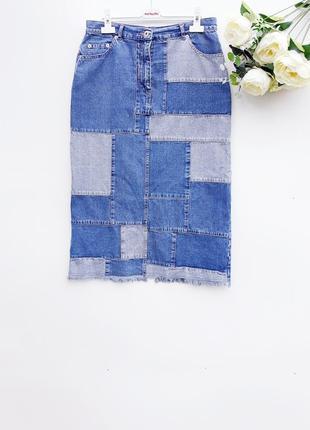 Джинсовая юбка миди с кусочков ткани стильная юбка миди