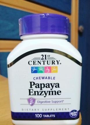 21st Century, Фермент папайи, 100 жевательных таблеток