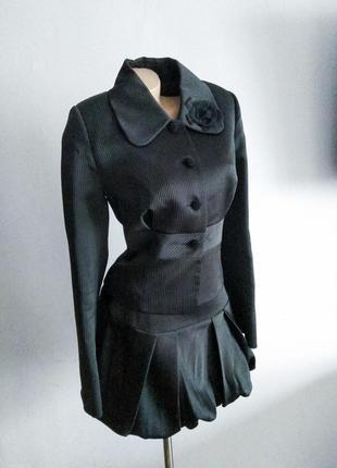 Роскошный шелковый женский костюм черный s m юбка пиджак жакет...