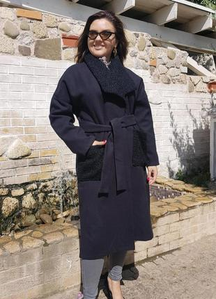 Кашемировое пальто карманы букле 5049-2