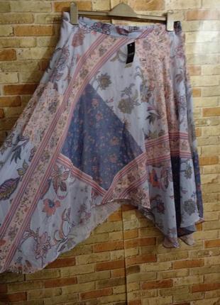 Новая шифоновая юбка в принт на подкладке 16/50-52 размера