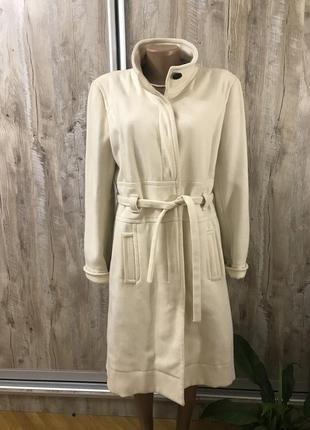 Пальто шерсть шерстяное белое молочный цвет с поясом hugo boss