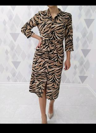 Платье принт зебра