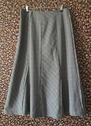 Серая юбка в клетку миди оригинальный пошив