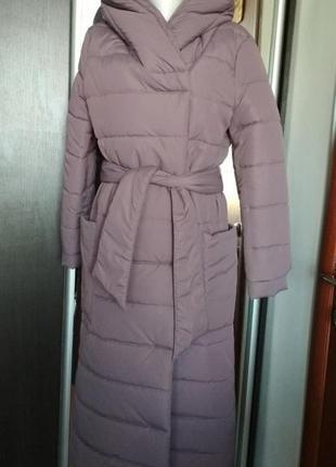Пуховое пальто с капюшоном season цвета пудра