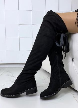 Демисезонные замшевые ботфорты на низком каблуке, осенние сапо...