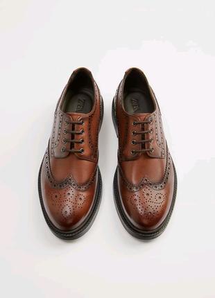Кожаные коричневые туфли-блюхеры ZARA 44 размер