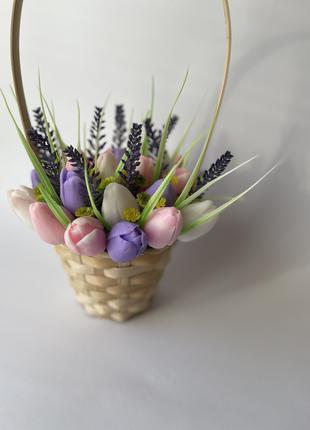 Букет тюльпанов из мыла, цветы из мыла, натуральное мыло