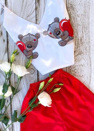 Шовкові піжами до дня закоханих, подарок для дівчат