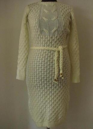 Платье женское вязанное, длинный рукав, хорошая длина, поясок,...